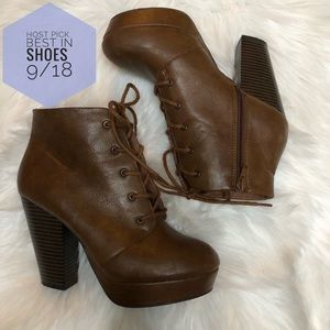 Brash Brown heeled lace up booties